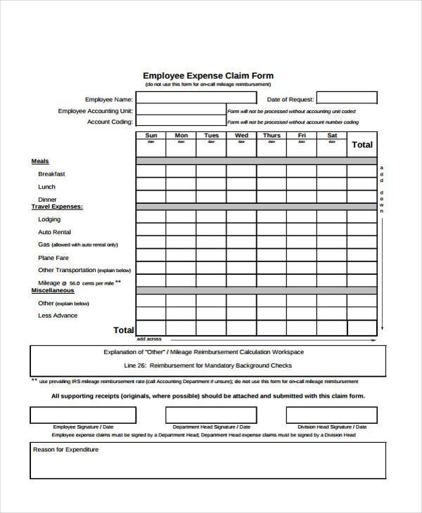 employee expense claim form1