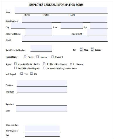 General Information Form Samples   Free Documents In Word Pdf
