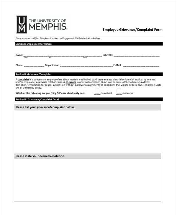9+ Employee Complaint Form Samples - Free Sample, Example Format ...