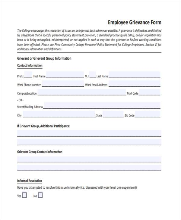 employee grievance resolution form