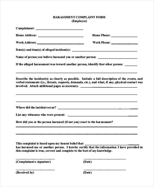 Employee Complaint Form Samples  Free Sample Example Format
