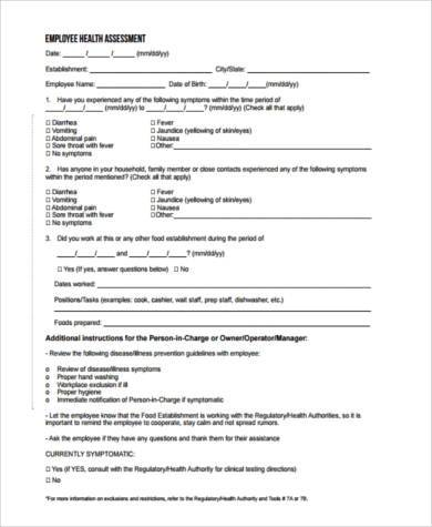 employee health assessment form1