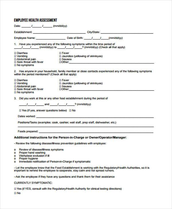 FREE 8+ Health Assessment Form Samples in PDF | MS Word