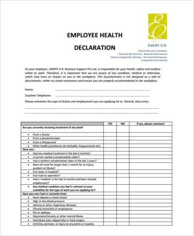 Sample health declaration forms 8 free documents in for Declaration document template