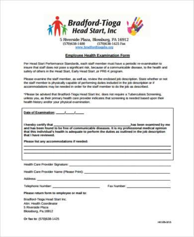 employee health examination form