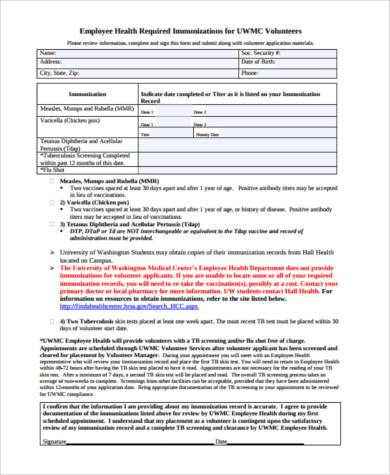 employee health form in pdf