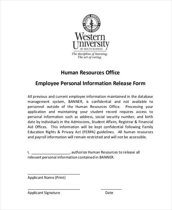 employee information release form1