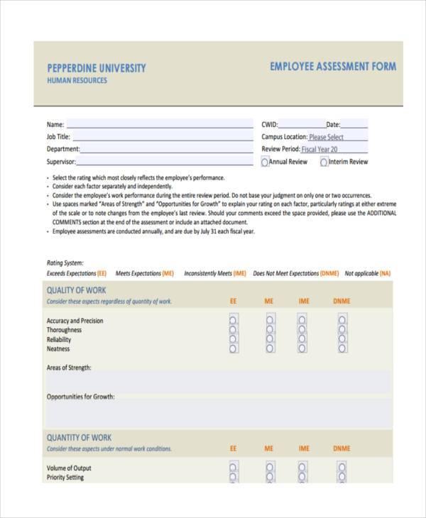 employee job assessment form