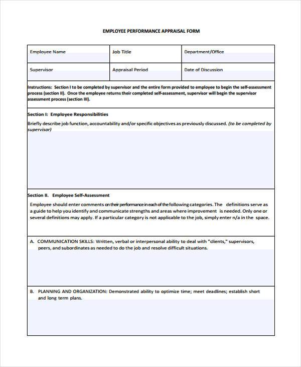 employee job performance appraisal form1