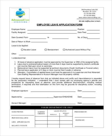 employee leave application form pdf