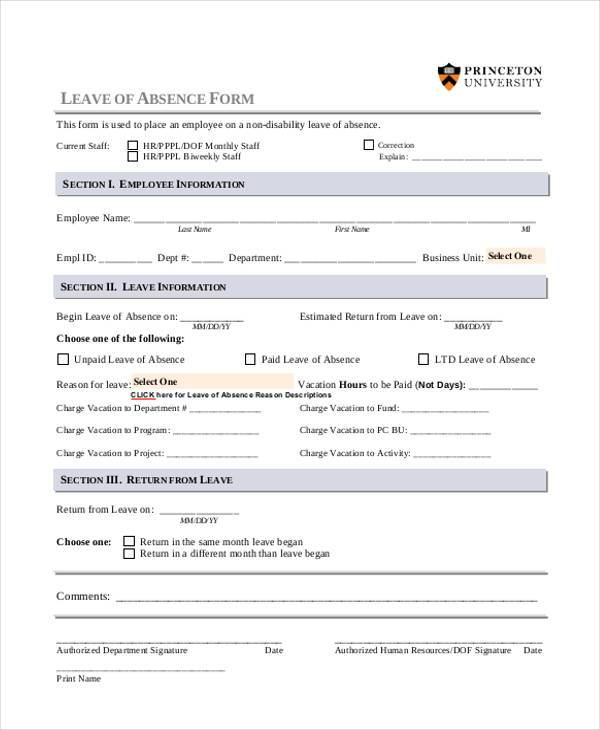 leave of absence format Family and medical leave act (fmla) request form to be completed by employee employee's name department phone number job.