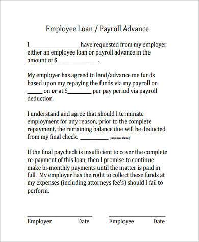 Sample Employee Loan Agreements   Free Documents In Word Pdf