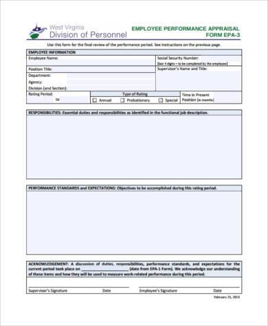 Sample Management Appraisal Forms   Free Documents In Pdf