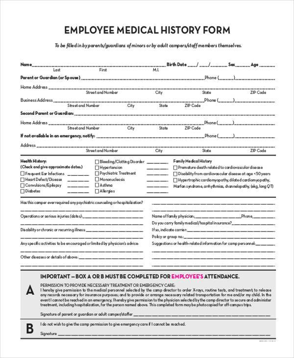 Sample Employee Medical History Forms   Free Documents In Word Pdf