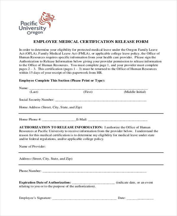 employee medical release form