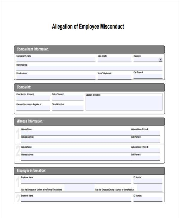 employee misconduct form in pdf