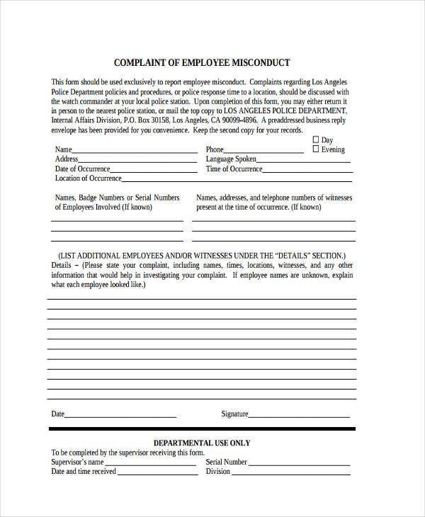 Sample Employee Misconduct Forms - 8+ Free Documents In Word, Pdf