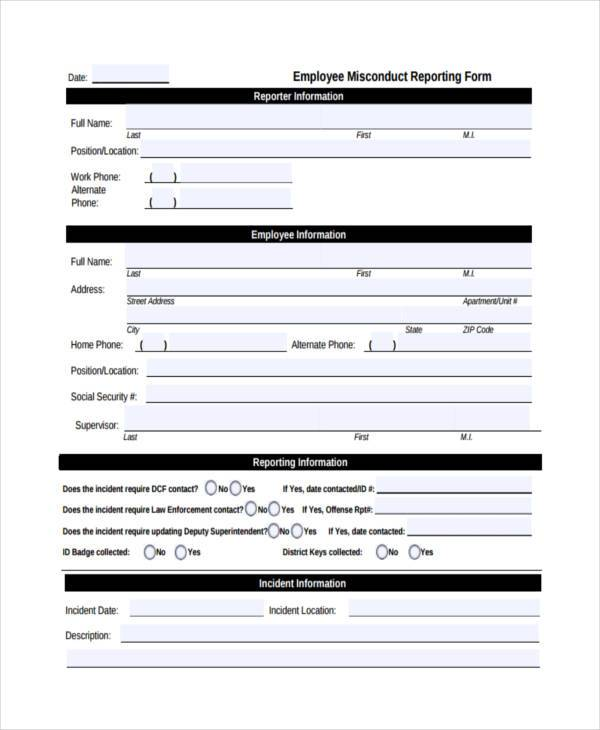 employee misconduct reporting form
