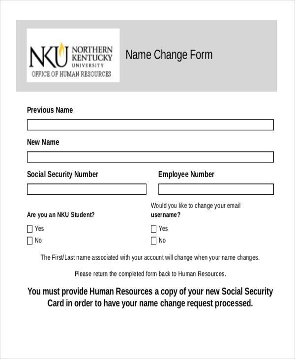 employee name change form example
