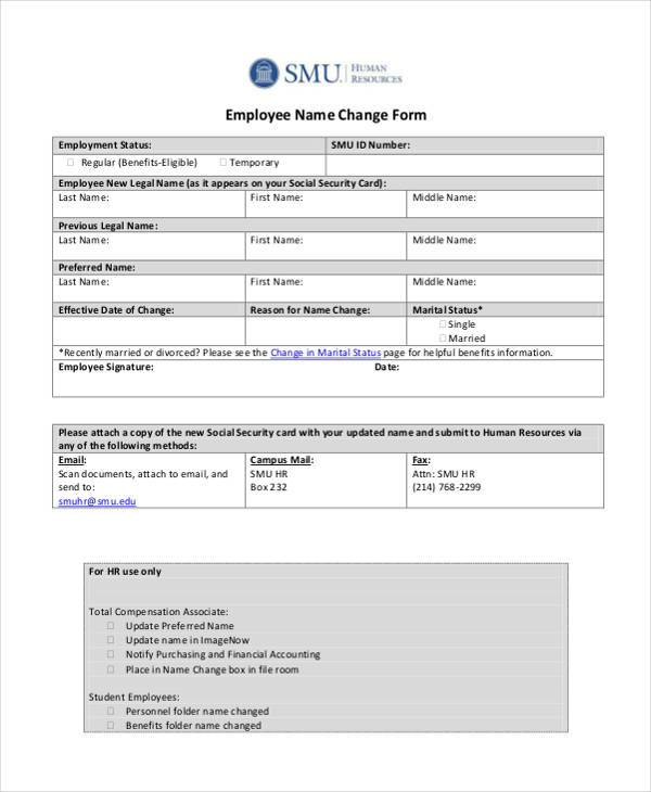 Sample Employee Name Change Forms   Free Documents In Word Pdf