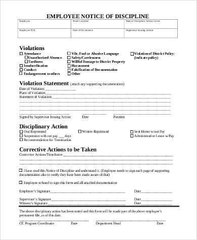 employee notice of disciplinary action form