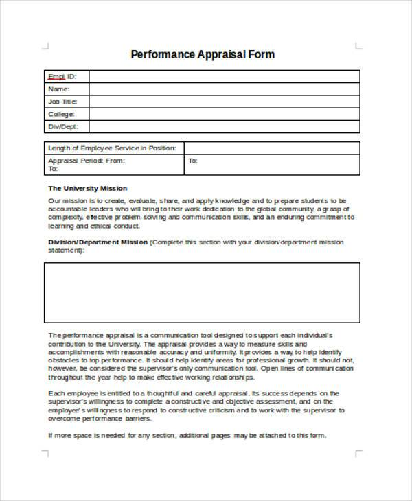 Sample Employee Performance Appraisal Forms - 8+ Free Documents In