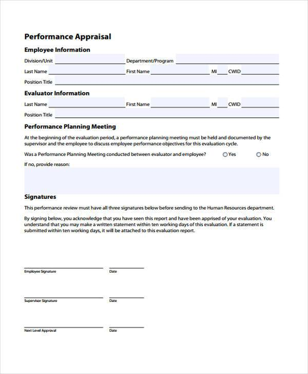 employee performance appraisal form in pdf