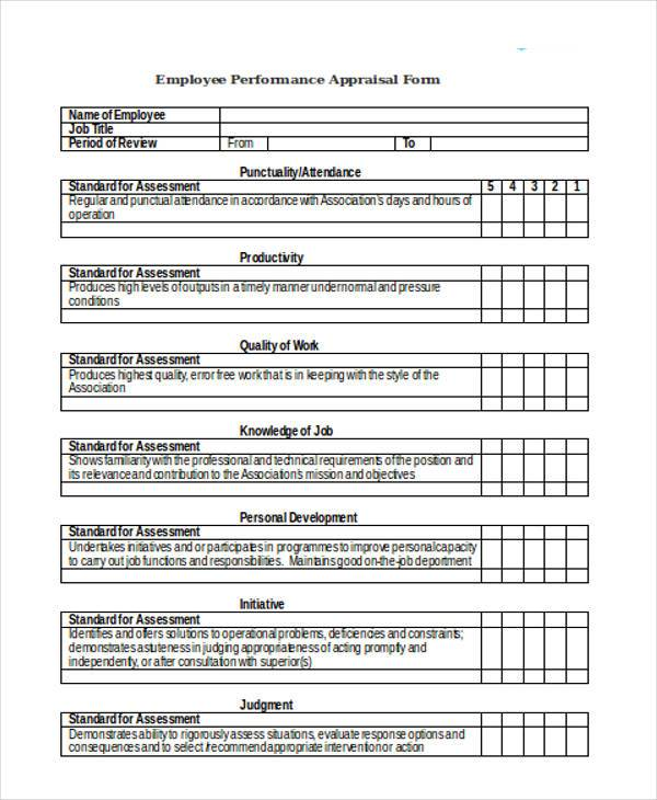 Appraisal Forms in Doc – Performance Appraisal Form Format