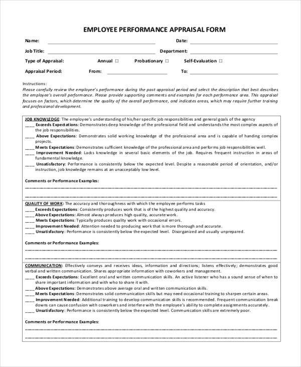 21 Appraisal Form Examples Free Sample Example Format Download – Employee Performance Evaluation Form Free Download