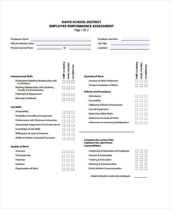 employee performance assessment form3