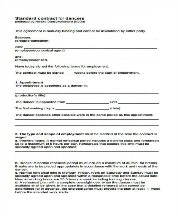 Sample Performance Contract Form Free Documents In Word PDF - Performance contract template