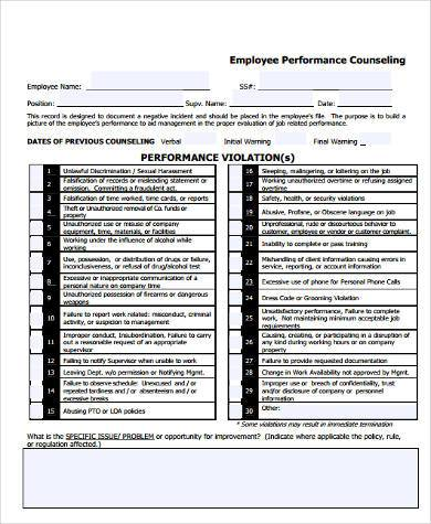employee performance counseling form example1