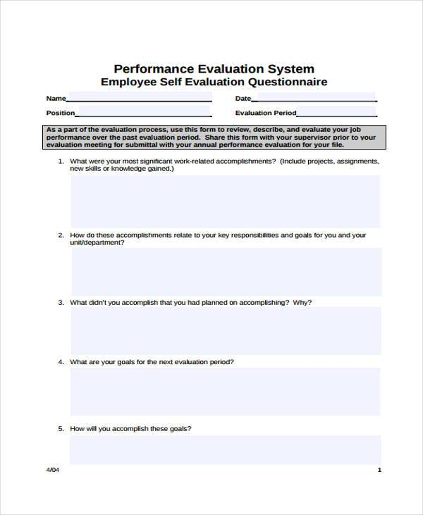 employee performance self evaluation questionnaire
