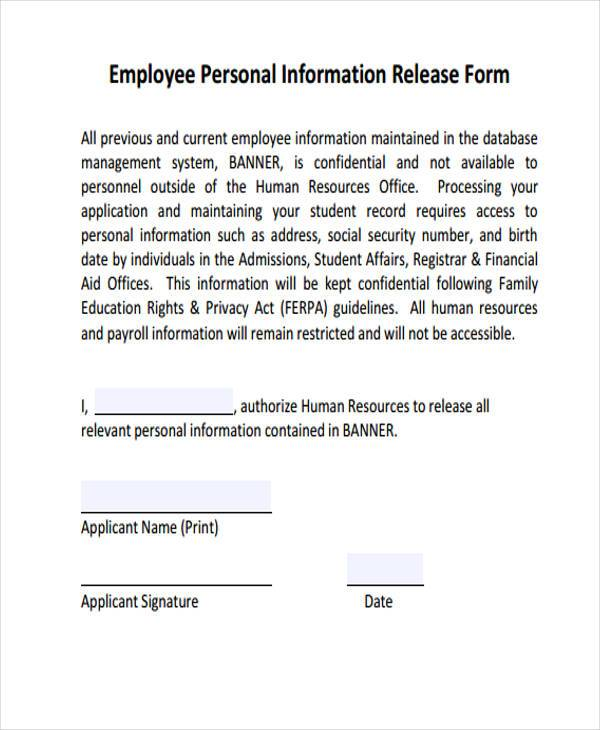 Sample Employee Release Forms   Free Documents In Word Pdf