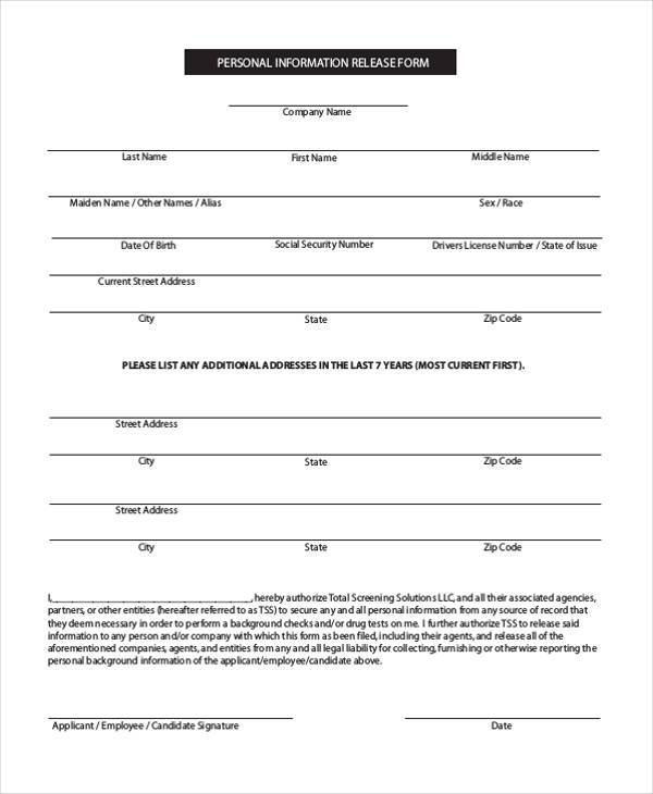 High Quality Personal Information Form Pdf