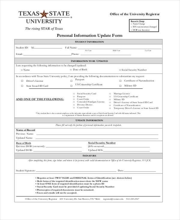 Sample Employee Personal Information Forms 7 Free Documents in PDF – Employee Information Form Sample