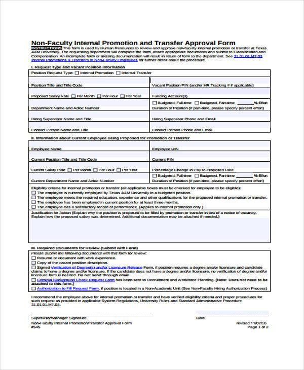 Sample Employee Promotion Forms   Free Documents In Word Pdf
