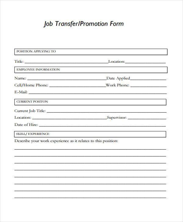 employee promotion form in pdf