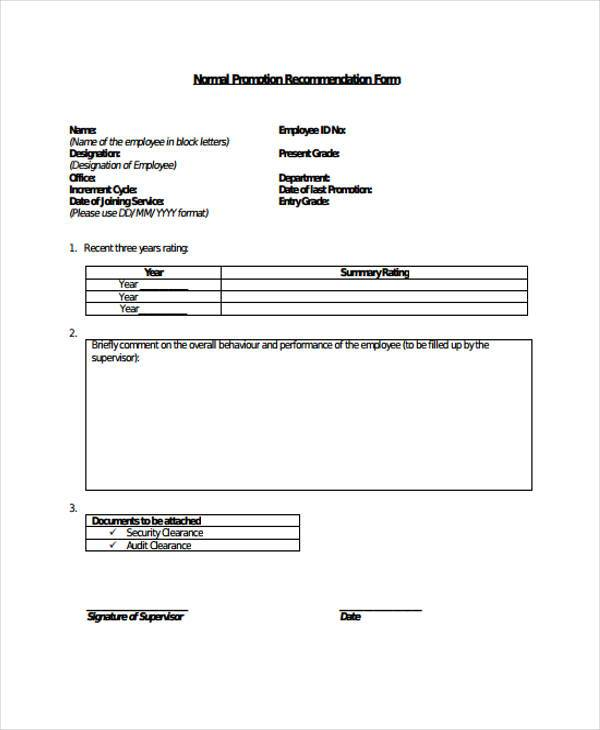 employee promotion recommendation form