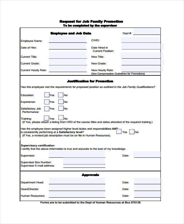FREE 9+ Sample Employee Promotion Forms In PDF