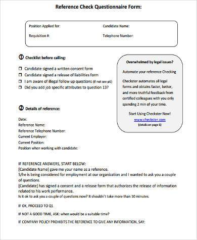 Sample Reference Questionnaire Forms   Free Documents In Word Pdf