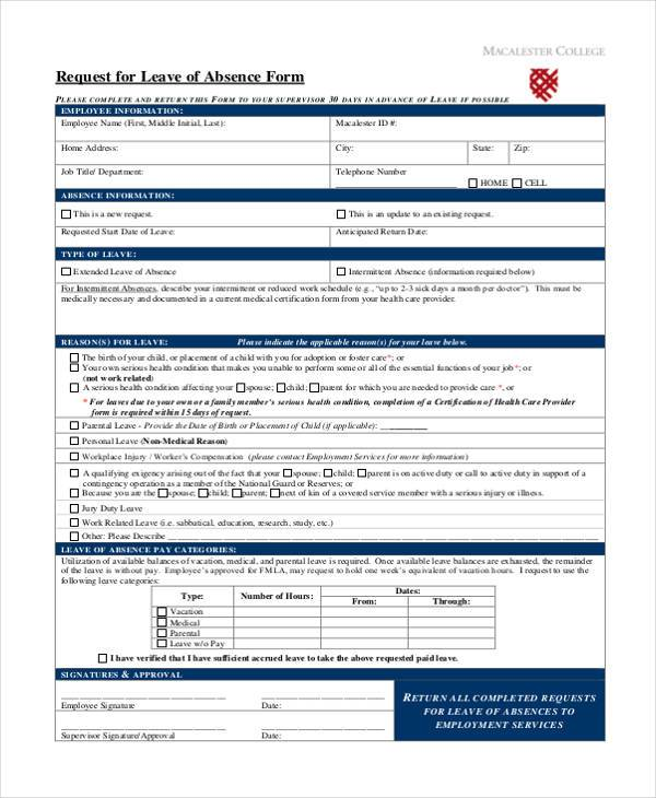 Absence forms militaryalicious sample employee absence forms 8 free documents in word pdf absence forms 12 sample leave thecheapjerseys Image collections