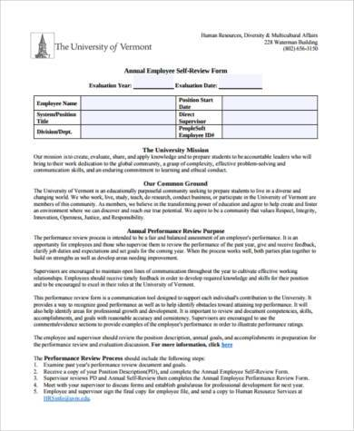Sample Employee Self-Assessment Forms - 7+ Free Documents In Word, Pdf