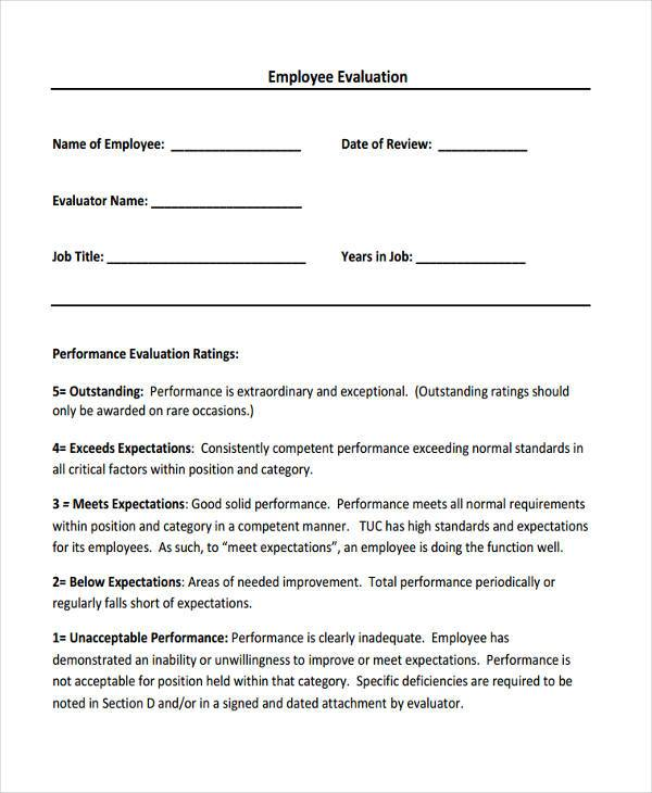 Employee Sales Evaluation Form  Employee Review Form Free Download