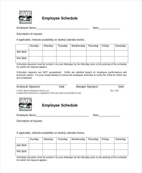 employee schedule availability form