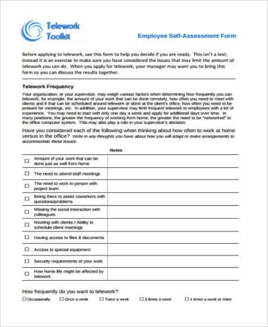 Sample Employee SelfAssessment Forms   Free Documents In Word Pdf