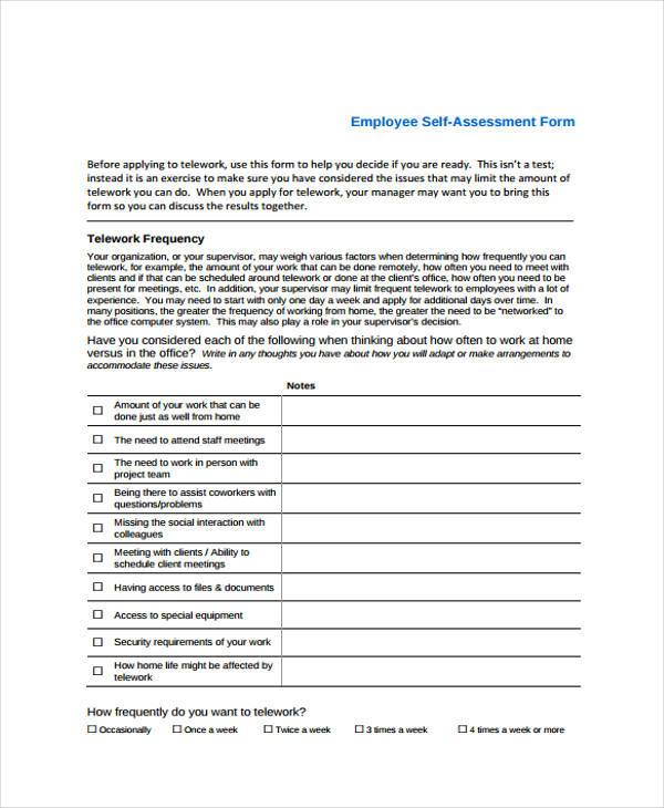 Self Assessment Sample For Work  CityEsporaCo