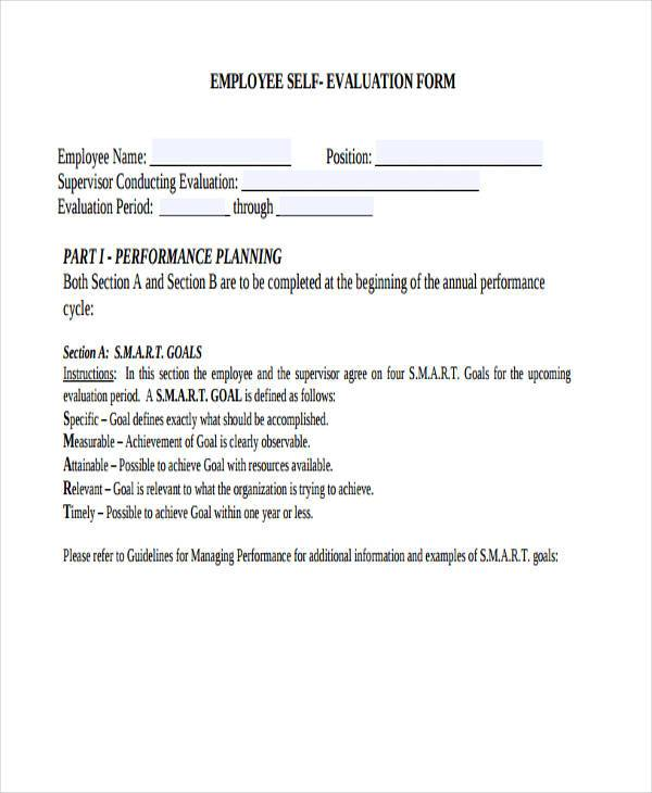 Employee SelfEvaluation Form Samples  Free Sample Example