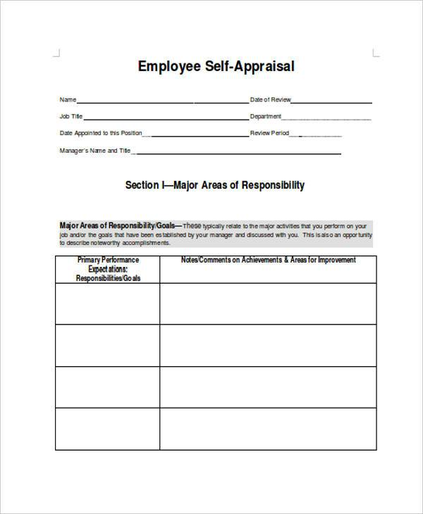 employee self performance appraisal form