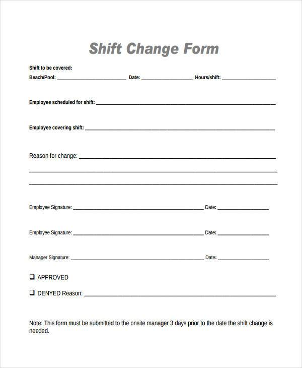 employee shift change form in pdf